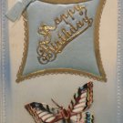 Antique Birthday Postcard Satin Pillow with Butterfly Unposted Divided