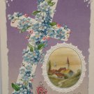 1910 Easter Postcard Blue Floral Cross Winsch Embossed Posted Divided