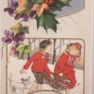 Antique Christmas Postcard Little Girls Embossed Unposted Divided