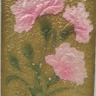 Antique Birthday Postcard Pink Carnations Embossed Posted Divided