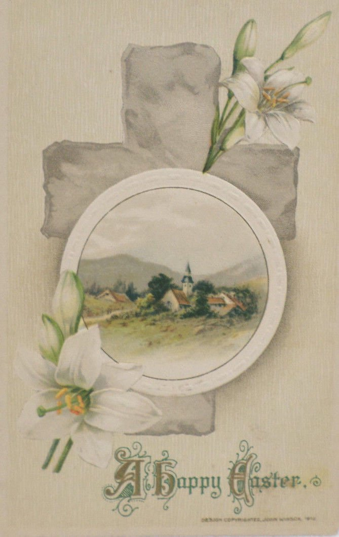 Antique Easter Postcard Lilies Cross John Winsch Embossed Posted Divided