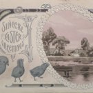 Antique Easter Postcard Chicks Embossed Posted Divided