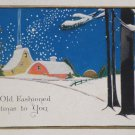 Antique Christmas Postcard Winter Snow Scene Posted Divided