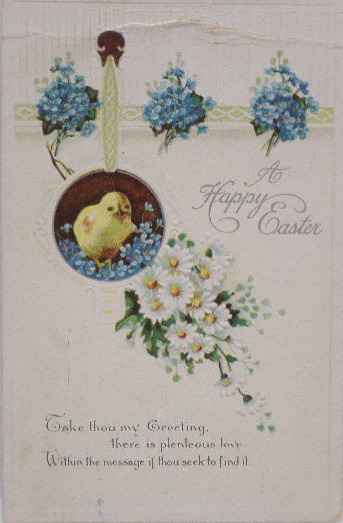 Antique Easter Postcard Chicks Posted Divided