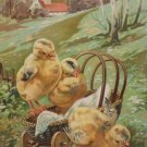 Antique Easter Postcard Chicks on Wagon Embossed Posted Undivided
