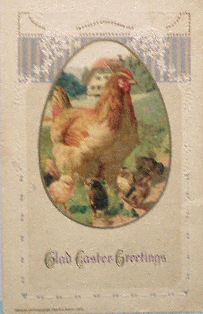 1914 Easter Postcard Hen Chicks Embossed Unposted Divided