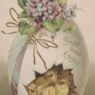 1912 Easter Postcard Chicks Egg Embossed Posted Divided