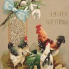 Antique Easter Postcard Roosters Hen Chicks Embossed Posted Divided