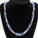 Vintage Womens Necklace Blue and Pink Crystal Beads