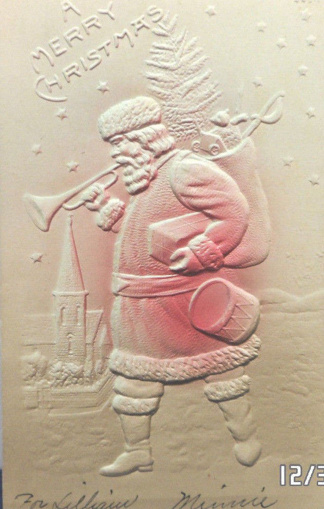 Antique Christmas Postcard Santa Claus Walking Blowing Horn Undivided Unposted