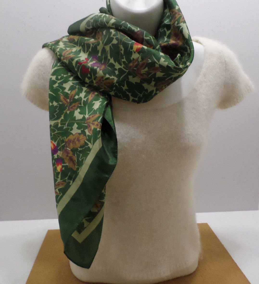Womens Scarf Green and Brown Leaves Red Flowers 100% Polyester made in Italy