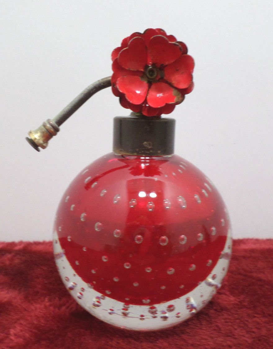Antique Perfume Bottle Ruby Red Clear Crystal Suspended Bubbles Art Deco