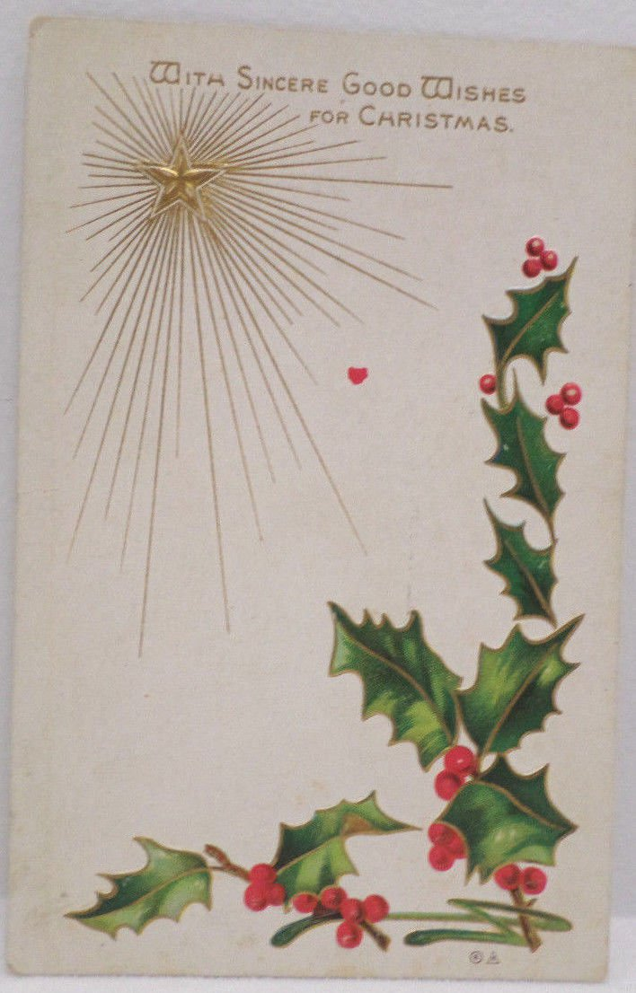 Antique Christmas Postcard Green Holly Gold Star Posted Divided