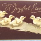 1912 Easter Postcard Ducklings Embossed Posted Divided