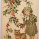Antique Christmas Postcard Little Girl Unposted Divided