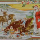 Antique Christmas Postcard Santa Claus Sleigh Over Turned Embossed Unposted