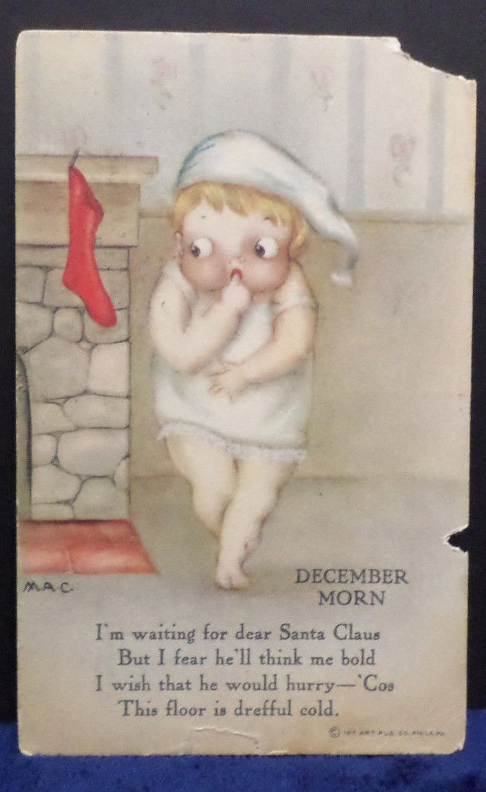 Antique Christmas Postcard with a Nice Stamp on the Back Posted Divided