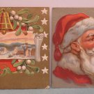 Antique Christmas Postcard Santa Claus Embossed Posted Divided Lot of 2