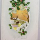 Antique Christmas Postcard Bells and Holly Embossed Unposted Divided