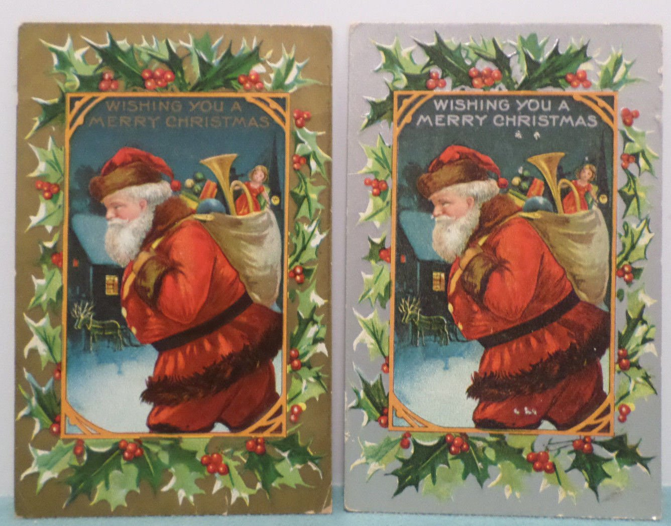 Antique Christmas Postcards Santa Claus Delivering Toys One Silver One Gold