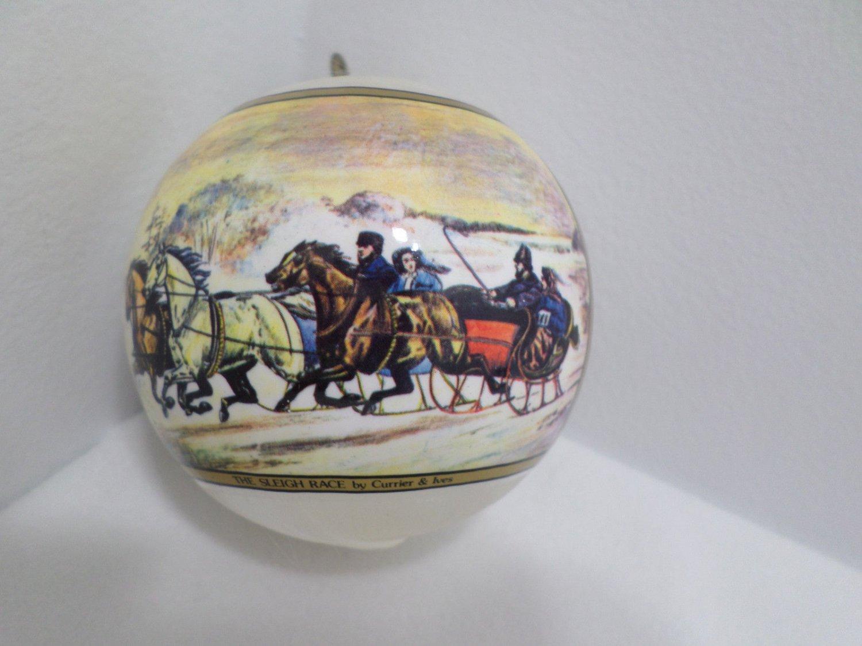 Christmas Tree Ornament The Sleigh Races 1977 Currier and Ives Hallmark