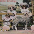 Antique Easter Postcard Children Sheep Eggs Posted Divided