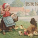 Antique 1911 Easter Postcard Little Girl With Basket Embossed Posted Divided