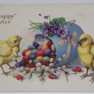 Antique Easter Postcard Chicks Colored Eggs Embossed Posted Divided