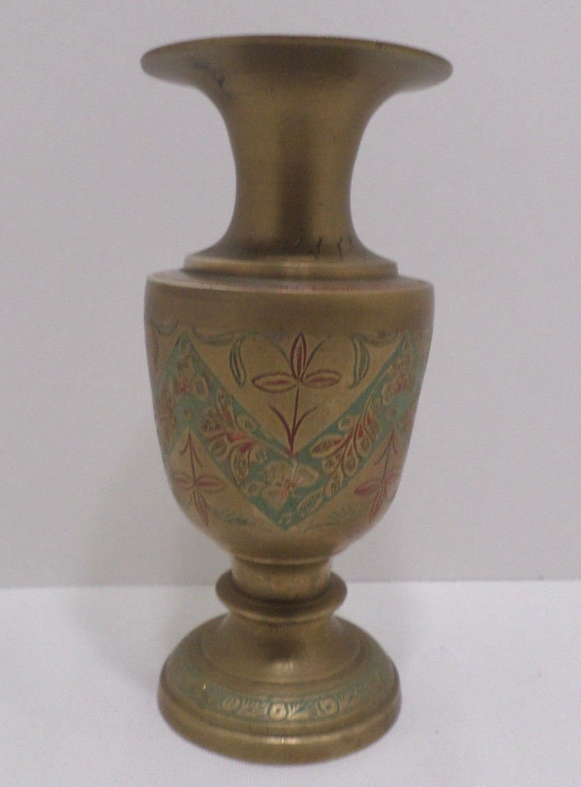 Vintage Solid Vase Solid Brass Enamel Vase made in India