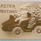 Easter Postcard Humanized Rabbit Driving a Car Embossed Posted Divided 1909