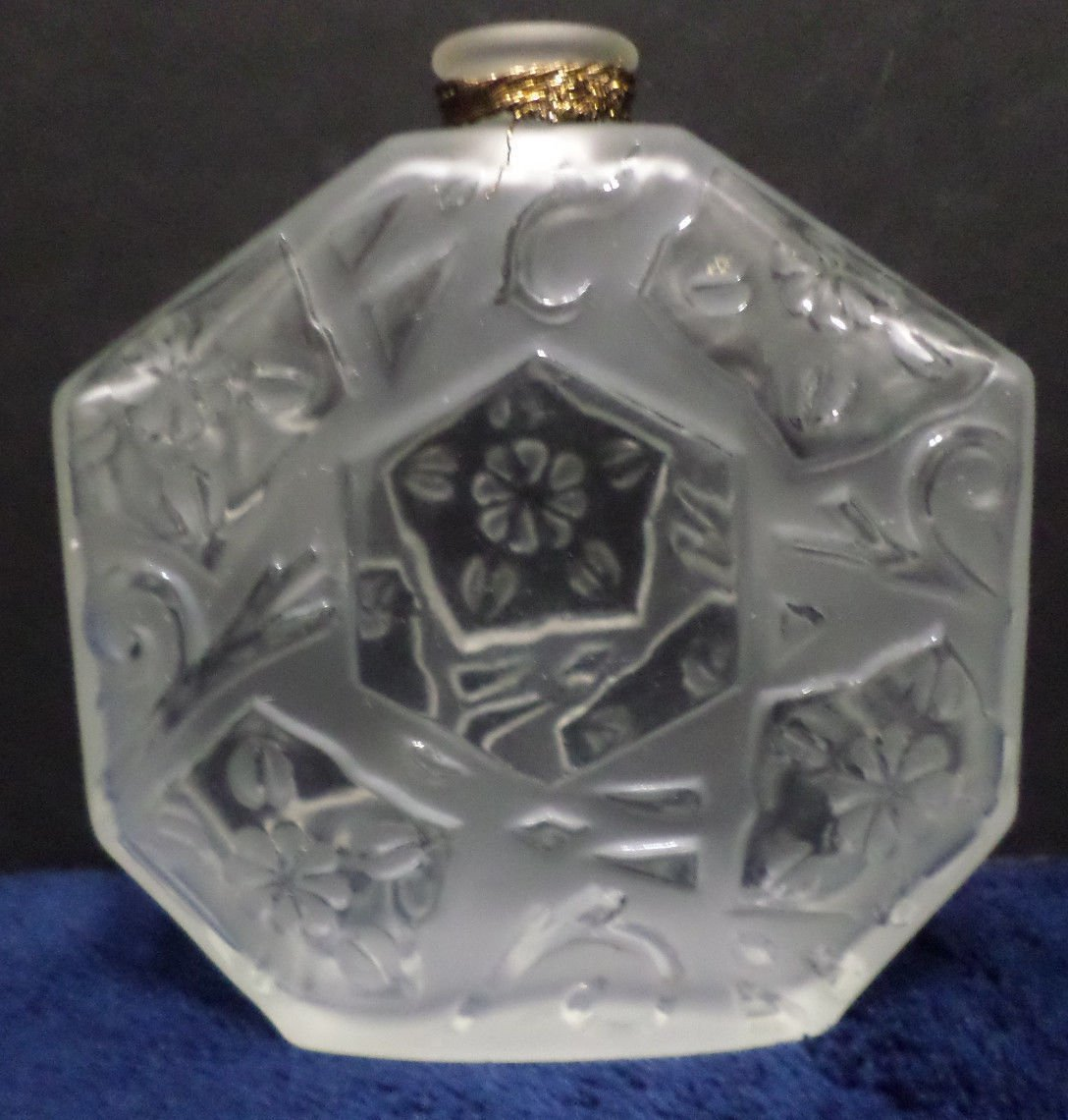 Perfume Bottle Ombre Rose by J.C. Brosseau Clear Frosted Glass made in France