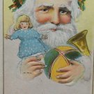 Antique 1916 Christmas Postcard Santa Claus Holding Toys Posted  made in USA