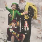 Antique Christmas Postcard Santa Claus Dressed in Black with Yellow Bag France