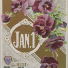 Antique 1910 New Year Postcard Purple Floral by Winsch Germany Embossed Posted