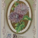 Antique 1912 New Year Postcard Purple Floral by Winsch Germany Divided Posted