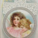 Antique Easter Postcard Angels Embossed Posted Divided