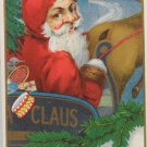 Antique Christmas Postcard Santa Claus in Sleigh Embossed Posted Divided