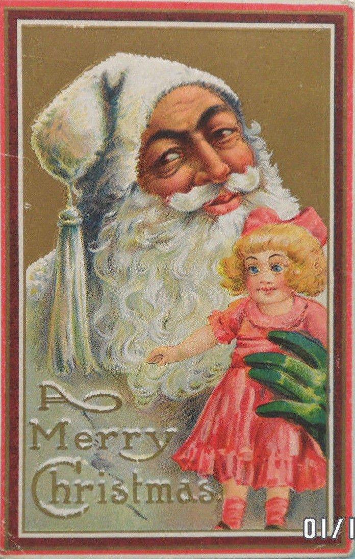 Antique Christmas Postcard Santa Claus Wearing Green Gloves