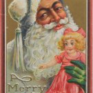 Antique Christmas Postcard Santa Claus Wearing Green Gloves