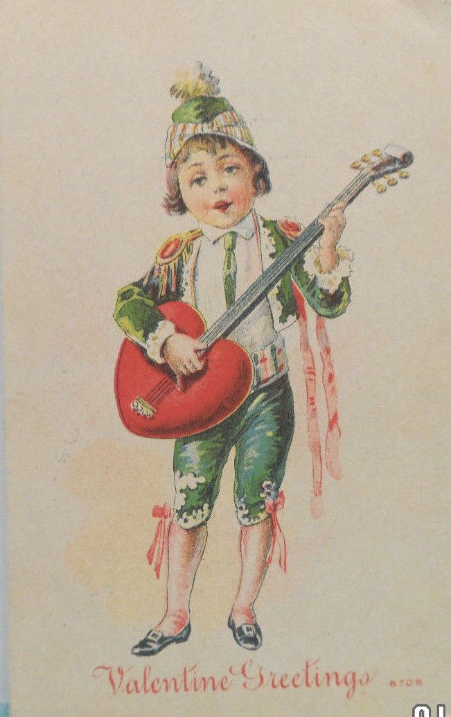 Antique Valentine Postcard Boy with Guitar Divided and Unposted