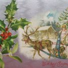 Antique Christmas Postcard Tan Santa Claus in a Sleigh with one Reindeer