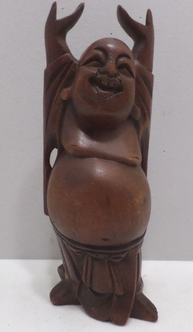 Chinese Laughing Buddha Hand Carved Teak Wood Artist Initials Carved on the Back