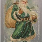 Antique Christmas Postcard Santa Claus in Green Robe Raphael Tuck & Sons
