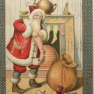 Antique 1907 Christmas Postcard Santa Claus Embossed Divided Posted