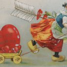 1909 Valentine Postcard Little Girl with Hear in Wagon Germany Posted Embossed