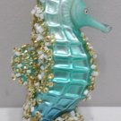 Christmas Ornament Green Seahorse Hand Blown Glass