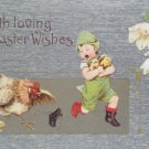 Antique Easter Postcard Chicken Chasing Boy That has her Chicks Unposted