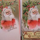 Two Antique Christmas Postcards Santa Claus Doubles Embossed Posted Divided