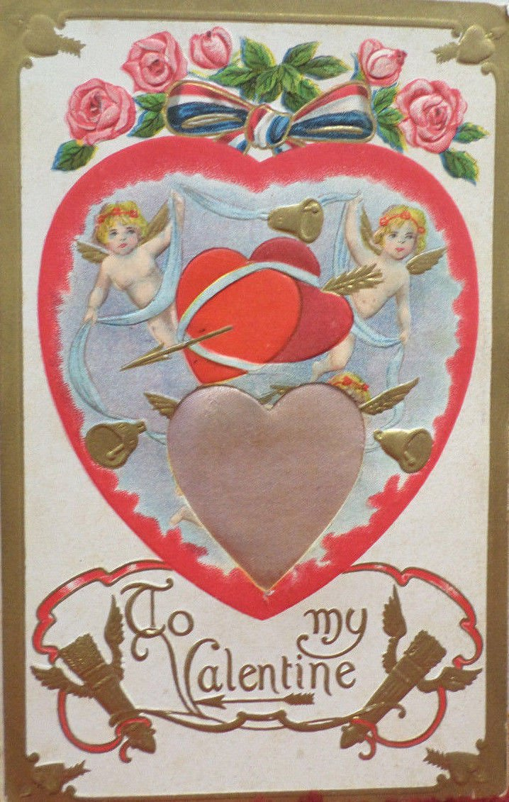 Valentine Postcard Angels Silk Hearts Roses Bells Unposted Divided