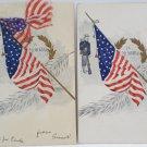 Antique Patriotic Postcards Cloth United States Flag Embossed Unposted
